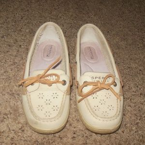Sperry Boat Shoes Cream Eyelet 7